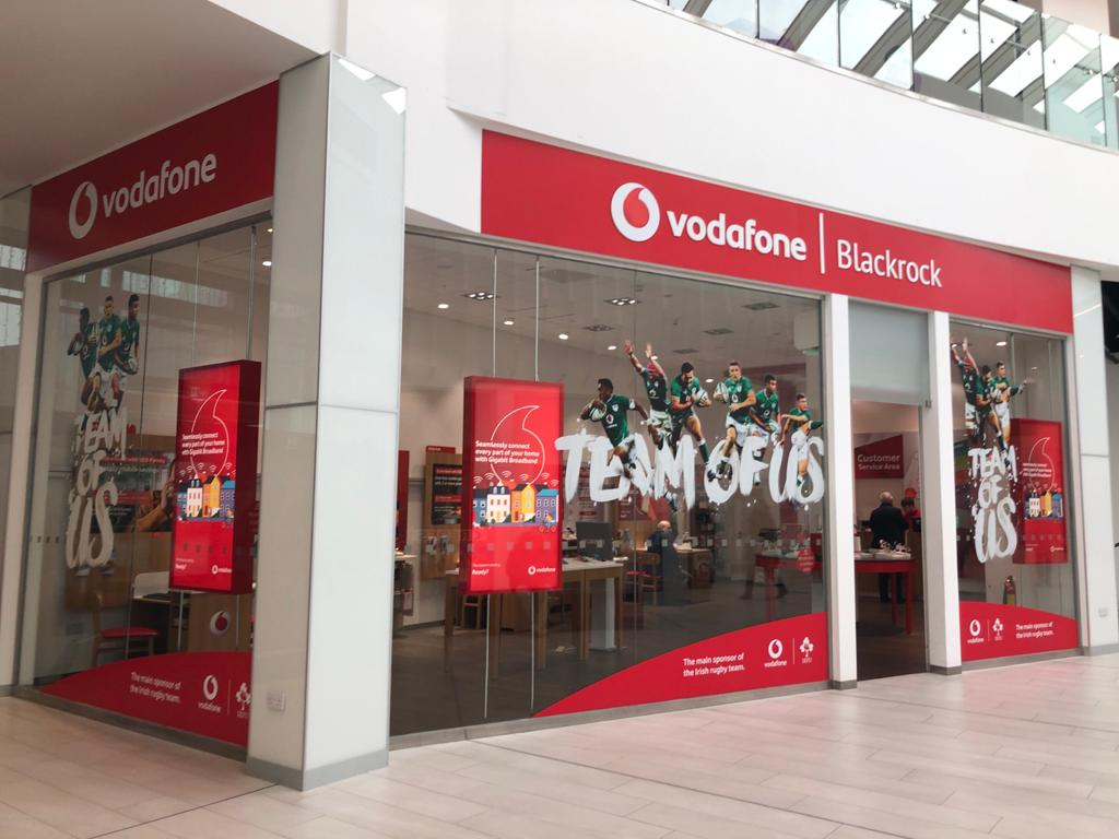 Exterior of Vodafone Blackrock retail store