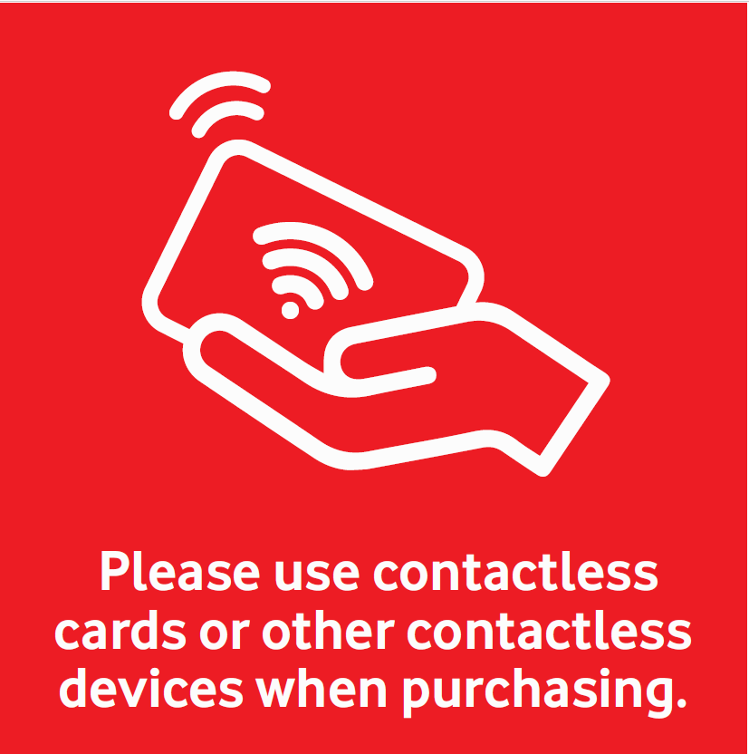 Icon asking customers to use contactless payment methods